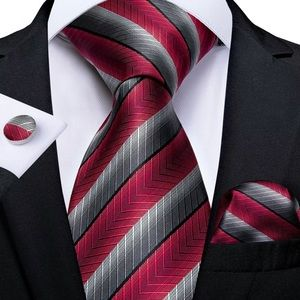 Other - Men's Silk Coordinated Tie Set, Red Gray Striped